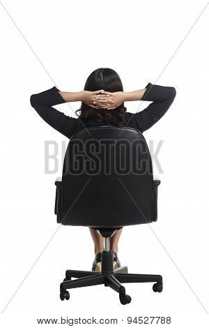 Asian Business Woman Sitting Backview