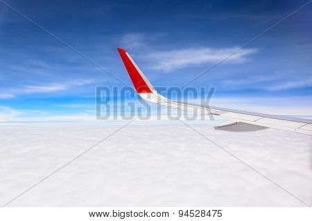 Airplane Wing With Beautiful Sky And Cloud