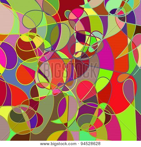 Geometric Abstract Colored Multicolor Mosaic Backdrop  With Swirls, Vector Illustration