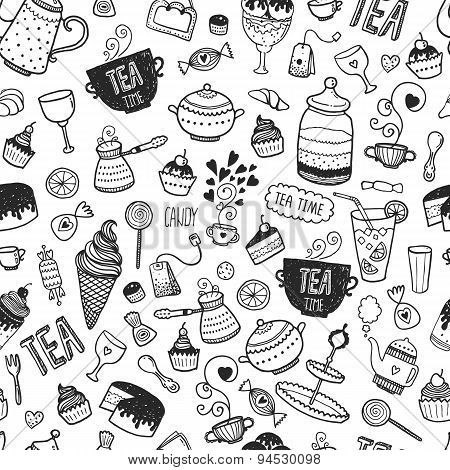 Hand drawn tea time background