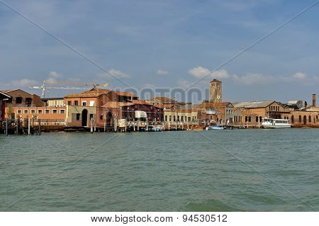 Part of Murano island view from one boat
