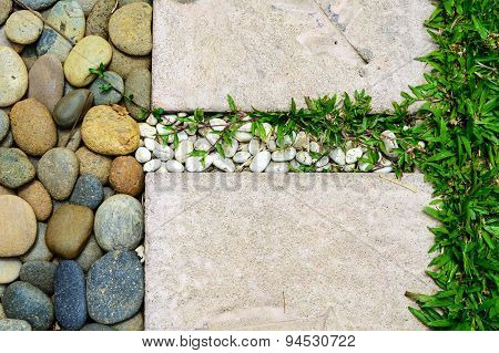 Decoration Stone Footpath With Pebble And Grass