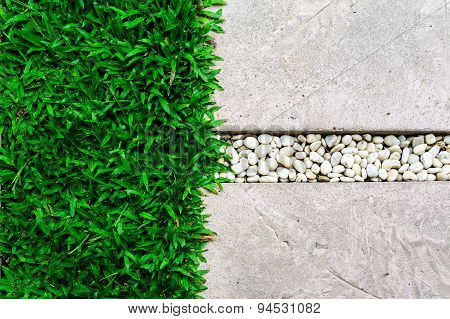 Ornament Stone Footpath With Pebble And Grass