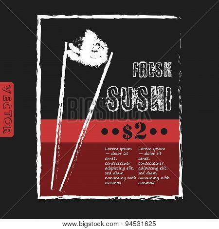 Vintage Sushi Bar Poster - Chalkboard. Vector illustration.