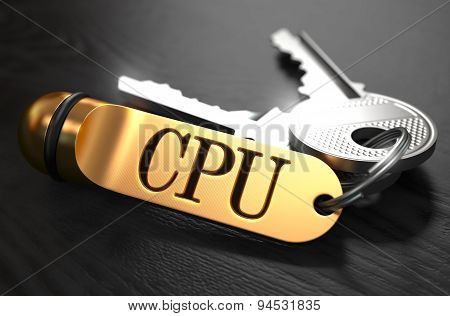 CPU Concept. Keys with Golden Keyring.
