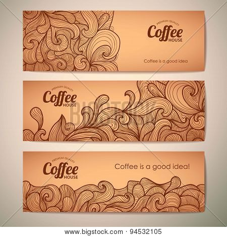Set Of Decorative Vintage Coffee Banners