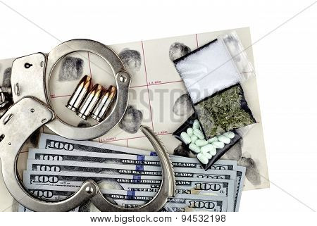 Drug Bust Handcuffs Evidence Cash Fingerprint Drugs