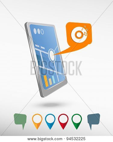 Cd Icon And Perspective Smartphone Vector Realistic