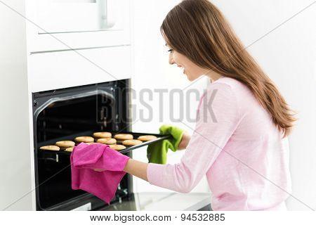 Woman baking cookies