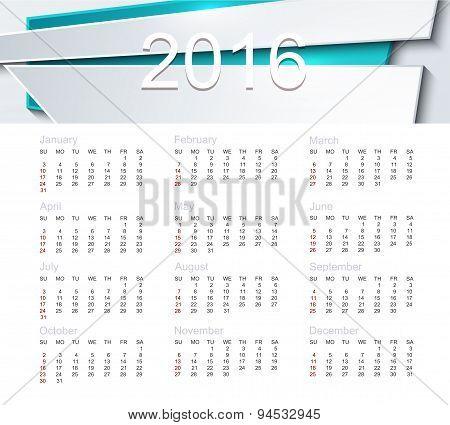Vector calendar for 2016 year