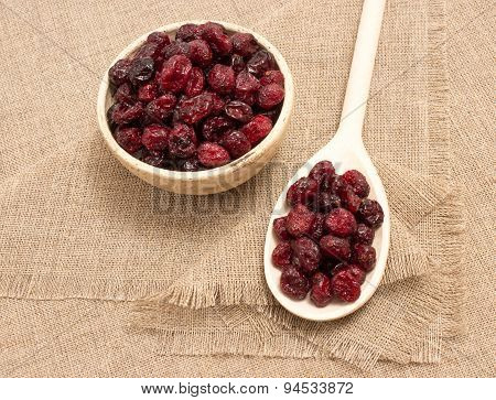 Dried Cranberries On Canvas Close Up