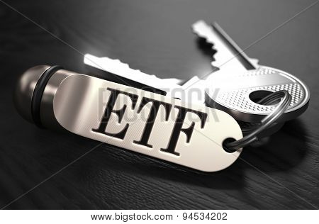 ETF Concept. Keys with Keyring.