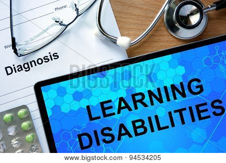 Diagnosis Learning disabilities and tablets.