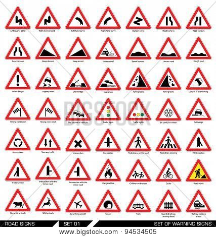 Set of road signs. Collection of triangular warning traffic signs. Signs of danger. Vector illustration.