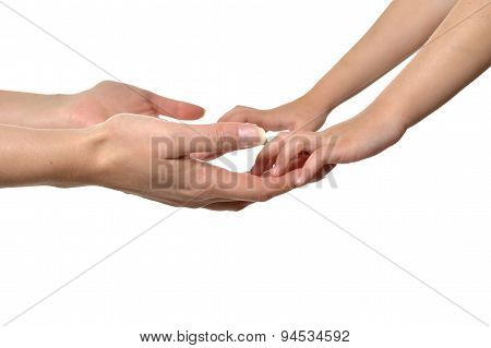 Hand massage closeup