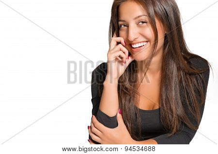 Portrait of beautiful smiling woman on a white background