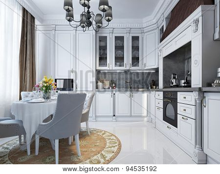 Classic kitchen interior in white.