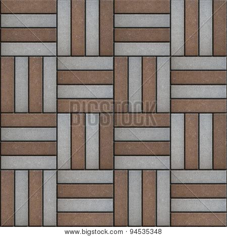 Brown and Gray Rectangles Paved. Seamless Texture.