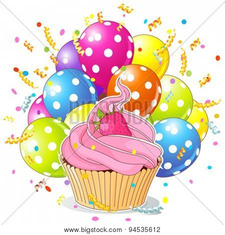 Illustration of a birthday cupcake with balloons and confetti