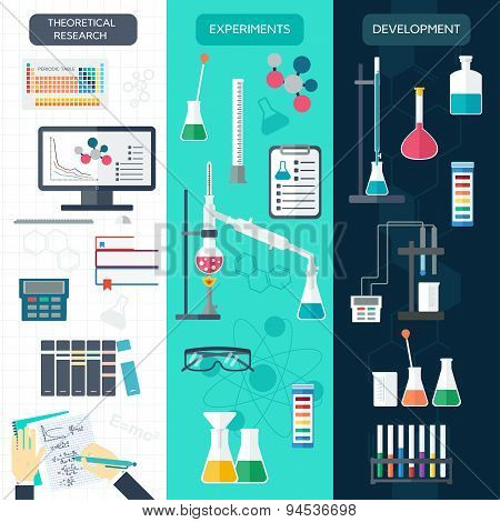 Set Of Chemical Vertical Banners. Science Process. Flat Design. Vector