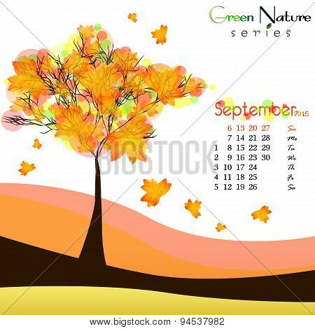 Abstract Nature Background With Maple Tree. Golden Autumn