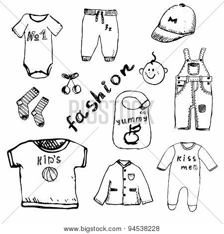 Clothes For Baby Boy Set Hand Drawn Sketch, Isolated On White Background