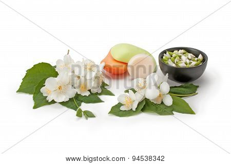 Natural Soap With The Scent Jasmine And Jasmine Flowers