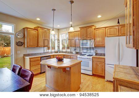 Modern Kitchen With Hardwood Floor.
