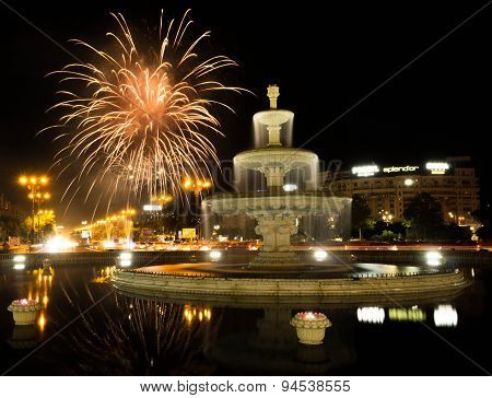 Bucharest Unirii Square Fountain With Fireworks