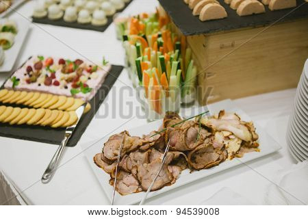 Holiday Appetizers banquet table setting in restaurant