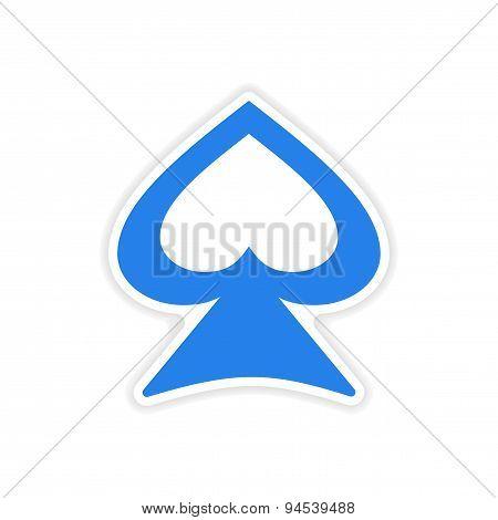 icon sticker realistic design on paper spades