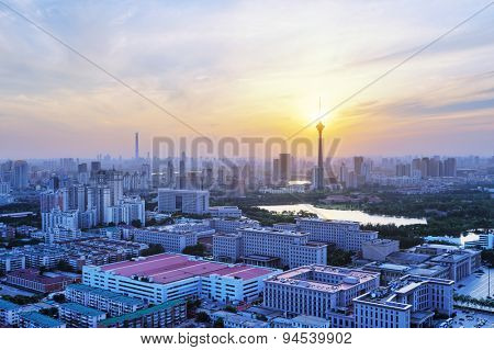 Panoramic skyline and modern buildings of tianjin