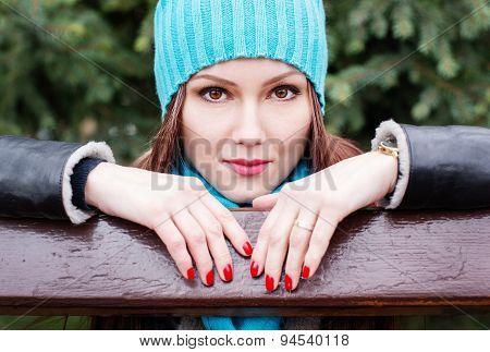 Young Beauty Portrait In Autumn Park