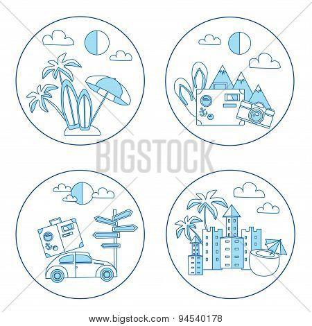 Set Of Summer Flat Icon