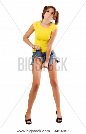 Beautiful Woman Rending Her Shorts