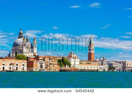 View from the sea to Venice in summer day, Italia