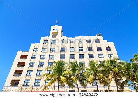 Facade of art deco building of Miami Beach Florida.