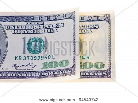 Two Hundred Dollars Banknotes Isolated On White Background
