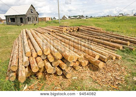Woodpile in field and house
