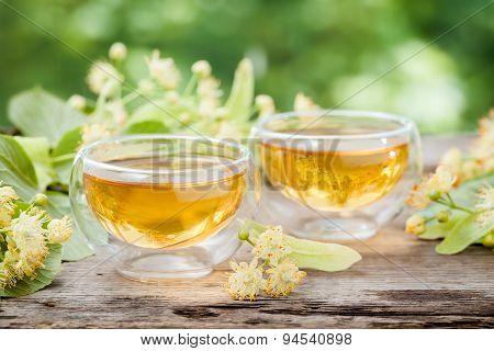 Two Cups Of Healthy Linden Tea, Herbal Medicine.