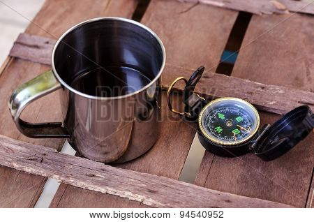 Cup Of Coffee With Compass