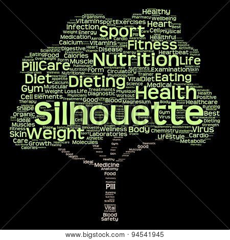 Concept or conceptual health or diet green text word cloud or tagcloud tree isolated on black background