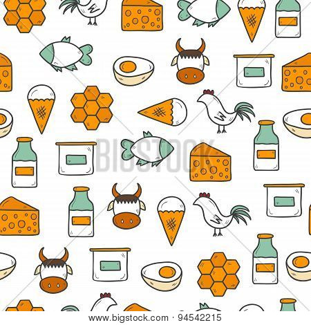 Seamless background with modern cute hand drawn objects with products containing animal protein and
