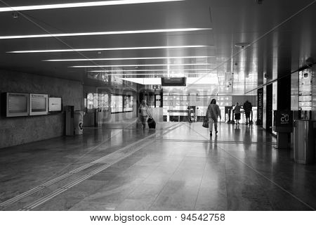 GENEVA, SWITZERLAND - SEPTEMBER 11, 2014: train station in city center. Geneva is the second most populous city in Switzerland and is the most populous city of Romandy