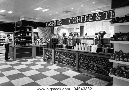 GENEVA - SEP 11: airport cafe on September 11, 2014 in Geneva, Switzerland. Geneva International Airport is the international airport of Geneva, Switzerland.