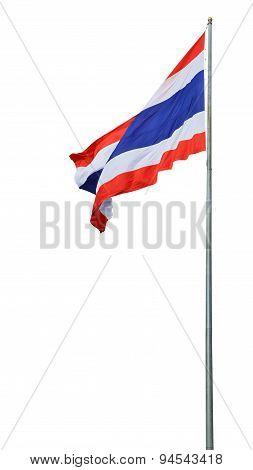Flag of Thailand with flag pole