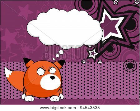 thinking fox baby ball cartoon background