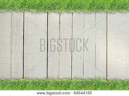 Green grass on colored wood background