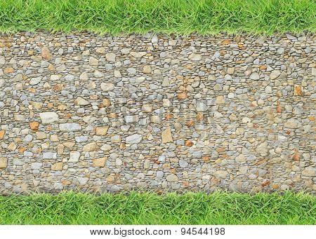 Green grass on stone floor background
