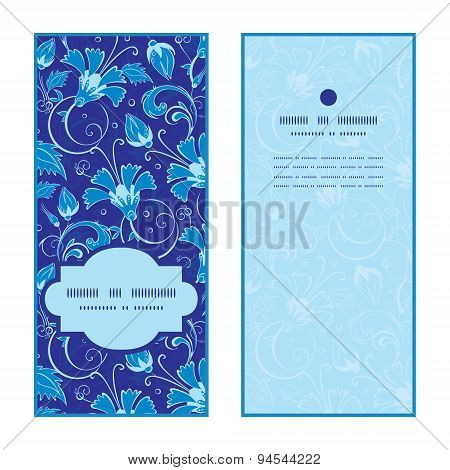 Vector dark blue turkish floral vertical frame pattern invitation greeting cards set